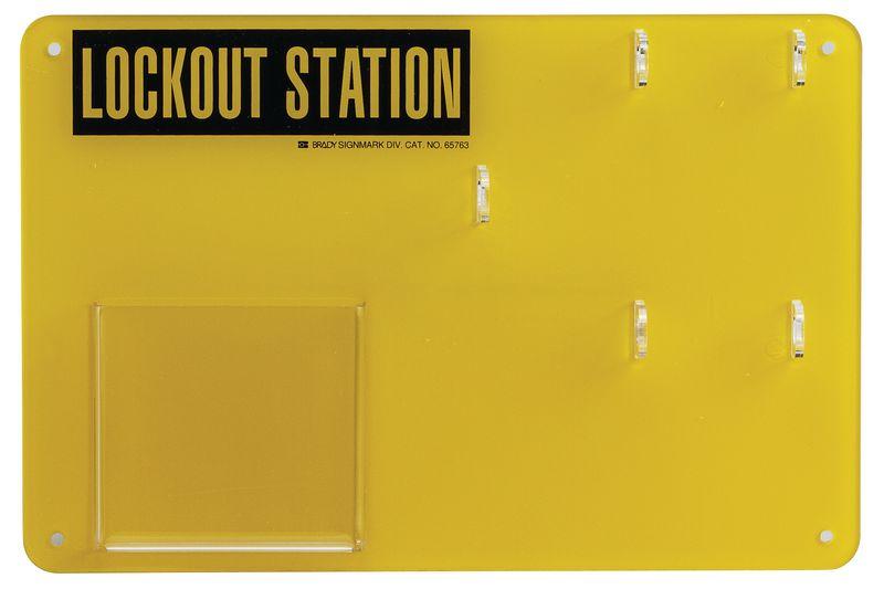 Geel lockout station voor lockout en tagout materiaal