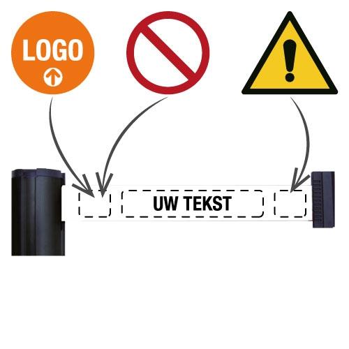 Personaliseerbare wandcassette of paal met uittrekbaar afzetlint