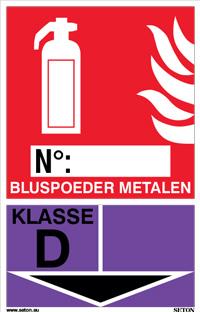 Identificatiebord brandblusser - Bluspoeder metalen, klasse D