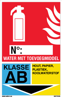 Identificatiebord brandblusser - Water met toevoegmiddel, klasse AB
