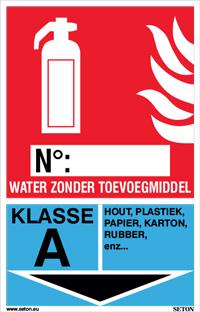 Identificatiebord brandblusser - Water zonder toevoegmiddel, klasse A