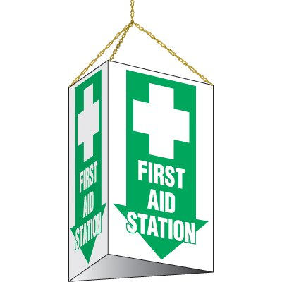 3-Sided Hanging First Aid Station Sign
