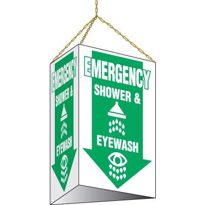 3-Sided Hanging Shower And Eyewash Sign