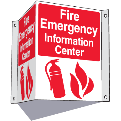3-Way Information Center Signs- Fire Emergency
