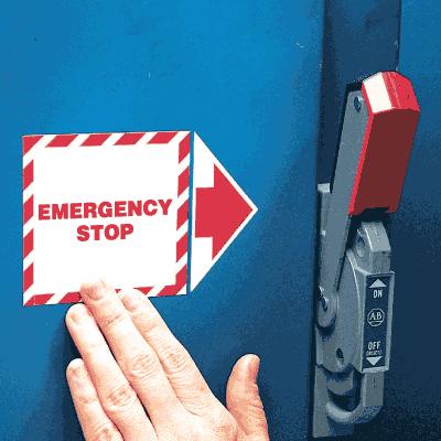 Add-An-Arrow Lockout Labels- Emergency Stop