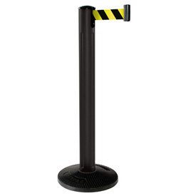 Beltrac® All Weather Stanchion - Black Post with Rubber Base