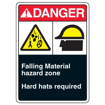 ANSI Multi-Message Safety Signs - Danger Falling Material Hazard Zone