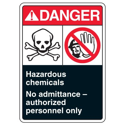 ANSI Multi-Message Safety Signs - Danger Hazardous Chemicals
