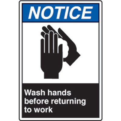 ANSI Safety Signs - Notice Wash Hands Before Returning To Work