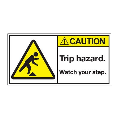 ANSI Z535 Safety Labels - Caution Trip Hazard