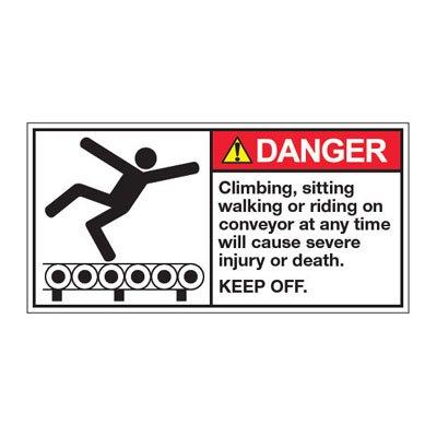 ANSI Z535 Safety Labels - Danger Climbing, Sitting, Walking Or Riding On Conveyor