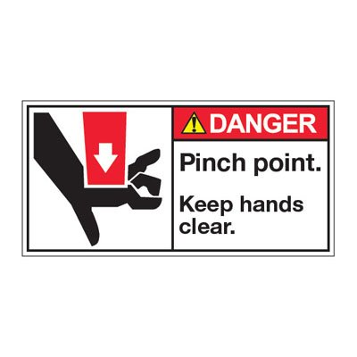 ANSI Z535 Safety Labels - Danger Pinch Point