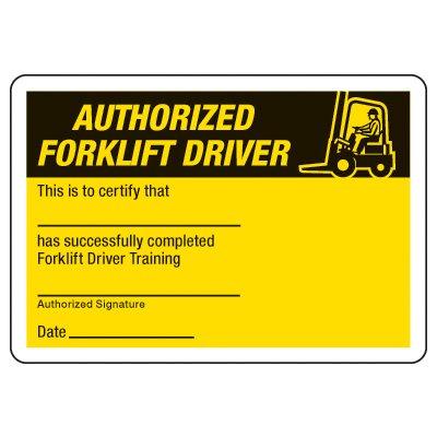 Forklift Certification Card - Wallet Size