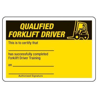 Qualified Forklift Driver Certification Card - Wallet Size