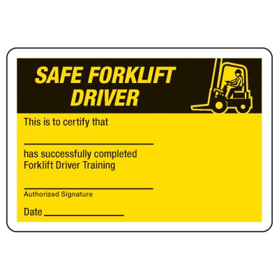 Safety Forklift Driver Wallet Cards