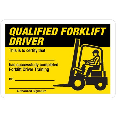 Certification Wallet Cards - Qualified Forklift Driver