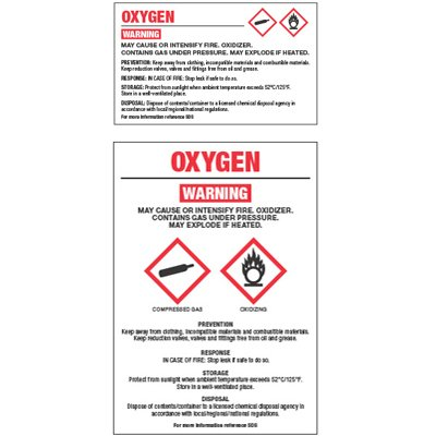 Chemical GHS Labels - Oxygen