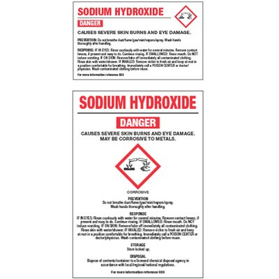 Chemical GHS Labels - Sodium Hydroxide