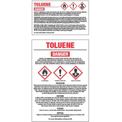 Chemical GHS Labels - Toluene