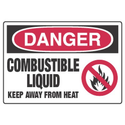 Chemical Hazard Danger Sign - Combustible Liquid Keep Away