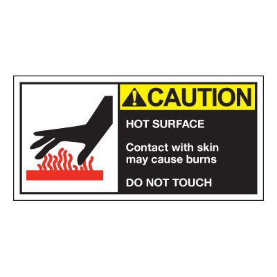 Conveyor Safety Labels - Caution Hot Surface