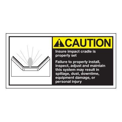 Conveyor Safety Labels - Caution Insure Impact