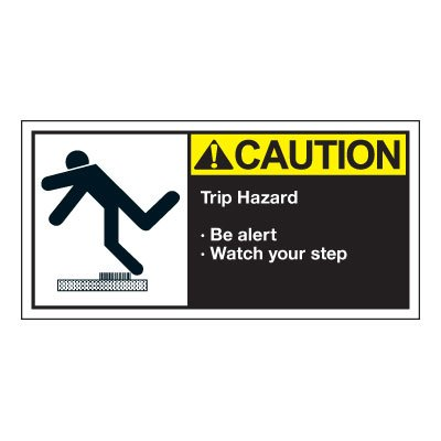 Conveyor Safety Labels - Caution Trip Hazard
