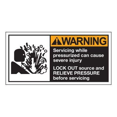 Conveyor Safety Labels - Warning Servicing While Pressurized