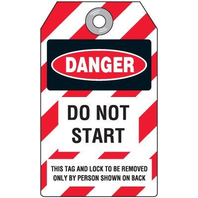 Danger Do Not Start - Lockout Tag, Plastic