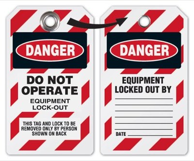 Danger Do Not Operate Equipment Lockout Tag