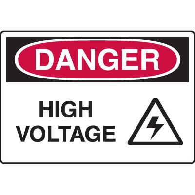 Danger High Voltage Sign w/Symbol