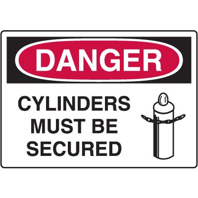 Cylinder Status Signs - Cylinders Must Be Secured