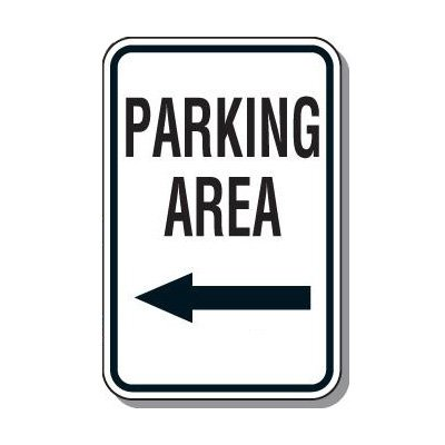 Directional Parking Signs - Parking Area (Left Arrow)