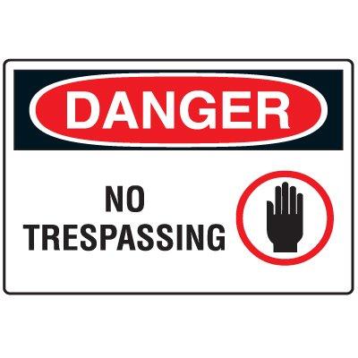 Disposable Plastic Corrugated Signs - Danger No Trespassing