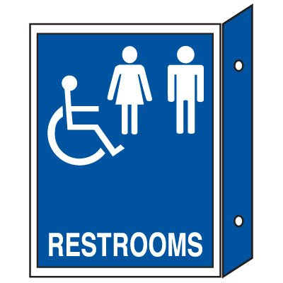 Handicap Restroom Signs - Double Faced