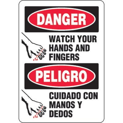 Bilingual Eco-Friendly Signs - Danger Watch Your Hands and Fingers