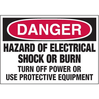 Electrical Warning Labels - Danger Hazard Of Electrical Shock
