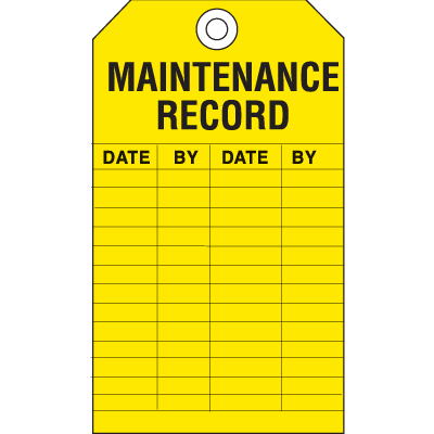 Safety Inspection Tags - Maintenance Record