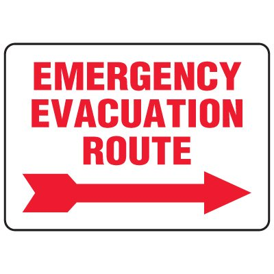 Evacuation & Shelter Signs - Emergency Evacuation Route (with right arrow)