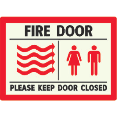 Fire Door Please Keep Door Closed - Photoluminescent Sign