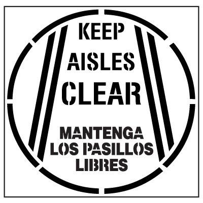 Floor Stencils - Keep Aisles Clear Mantenga Los Pasillos Libres