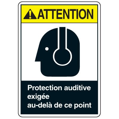 Enseignes de Sécurité - Attention Protection Auditive Exigee