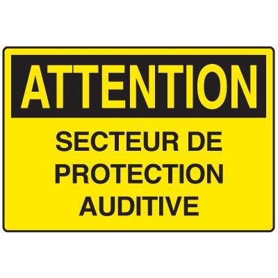 Enseignes de Sécurité - Attention Secteur De Protection Auditive