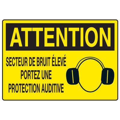 Enseignes de Sécurité - Attention Secteur De Bruit Élevé Portez Une Protection Auditive