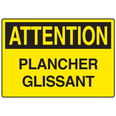 Enseignes de Sécurité - Attention Plancher Glissant