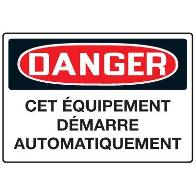 Enseignes de Sécurité - Danger Cet Équipment Demarre Automatiquement