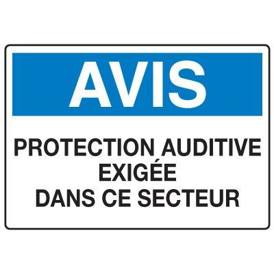 Enseignes de Sécurité - Avis Protection Auditive Exigee