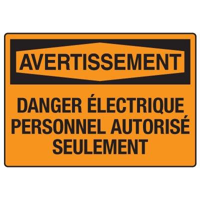 Enseignes de Sécurité - Avertissement Danger Électrique Personnel Autorisé Seulement