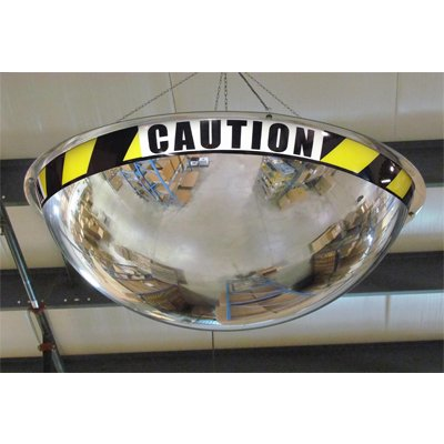 Full Dome Acrylic Security Mirror with Caution Message