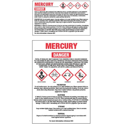 GHS Chemical Labels - Mercury